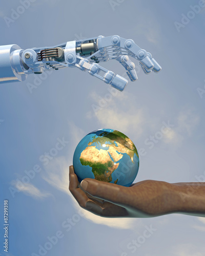 Fotografie, Tablou  High-quality 3D render of a robot hand giving a globe to a human hand