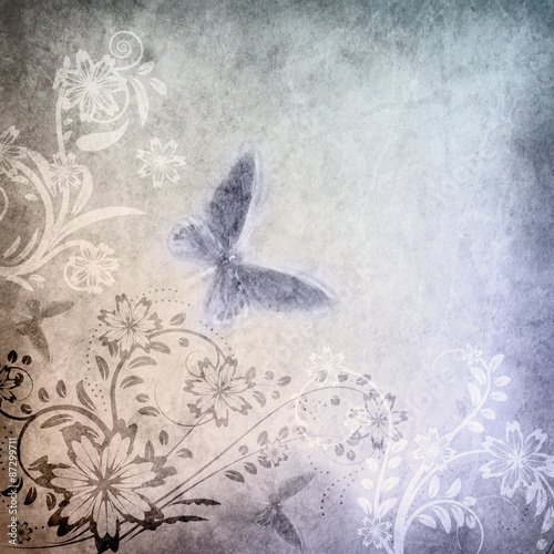 Garden Poster Butterflies in Grunge Old paper with floral pattern