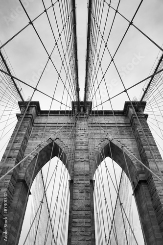 Foto op Plexiglas Bruggen Brooklyn Bridge New York City close up architectural detail in timeless black and white