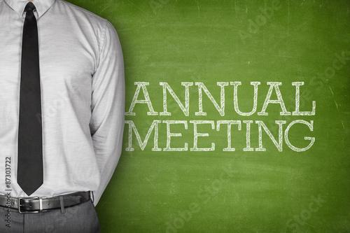 Fotografía  Annual meeting text on blackboard