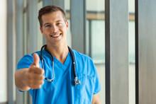 Male Medical Nurse Giving Thumb Up