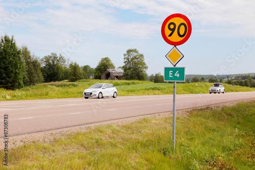 Fotomural Vägavsnitt väg E4 med trafik