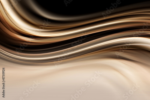 Staande foto Fractal waves Gold Abstract Waves Art Composition Background