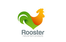 Rooster Logo Farm Design Vector Template...Cock Chicken Eco Natu