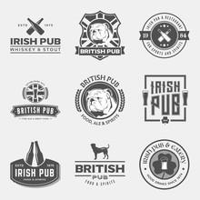 Vector Set Of Irish And British Pub Labels, Badges And Design El