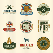 Vector Set Of Irish And British Pub Labels, Badges And Design El