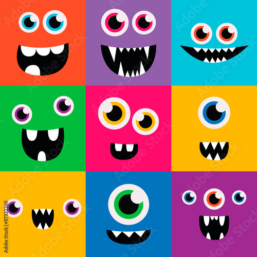 Cartoon Monster Faces Vector Set Cute Square Avatars And