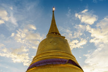 Pagoda In Golden Mountain Temple Called Chedi Phukhao Thong