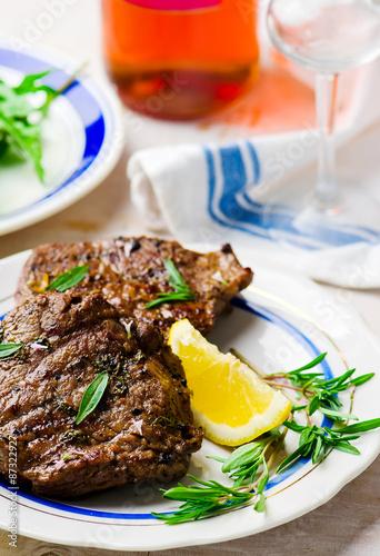 steak  with lemon Canvas Print