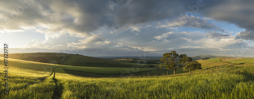 Poster Onweer Beautiful panorama landscape South Downs countryside in Summer