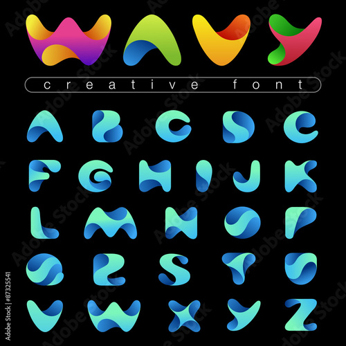 Deurstickers Positive Typography Rounded Wave Font design vector editable. Friendly wavy Alphabet