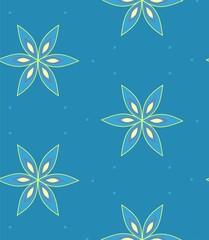 Fototapeta na wymiar Multicolor geometric flower pattern on blue background, seamless