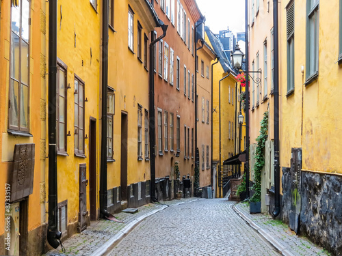 Photo  The street in the Old City. Stockholm, Sweden