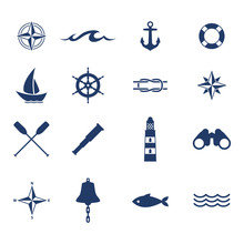 Set Of Nautical Sea Ocean Sail...