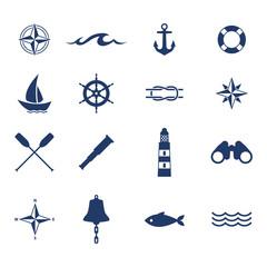 Fototapeta Set of nautical sea ocean sailing icons.
