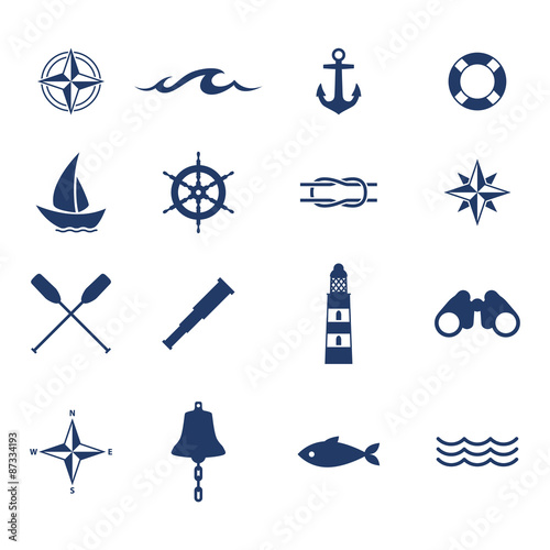 Fototapeta Set of nautical sea ocean sailing icons. obraz