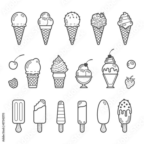 Fotografía Vector icon set of yummy ice cream