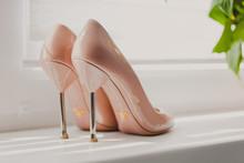 Beige Bridal Wedding Heels Shoes