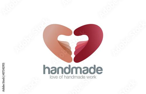 Two Hands As Heart Shape Logo Handmade Design Vector Template