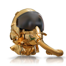 Illustration Of A Golden Protective Helmet Of The Pilot Against The Plane With An Oxygen Mask