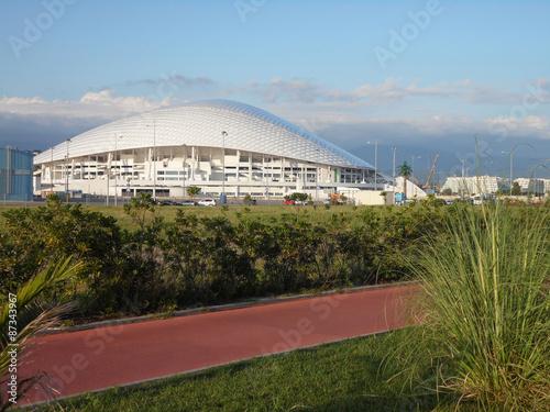 Fotobehang Stadion Футбольный стадион чемпионата мира 2018 в России, город Сочи, вид с набережной