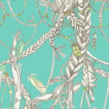 Seamless pattern with girlish braids, hair, wind and feathers
