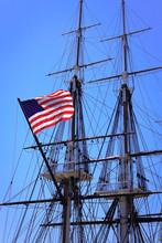American Flag On Ship's Mast