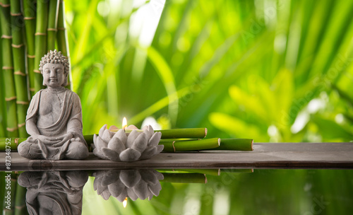 Montage in der Fensternische Buddha Spa still life