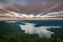 Sunrise At Jumping Off Rock Above Lake Jocassee In South Carolina.