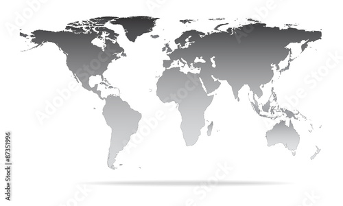 Vector illustration of high detail grey colour world map. – kaufen ...