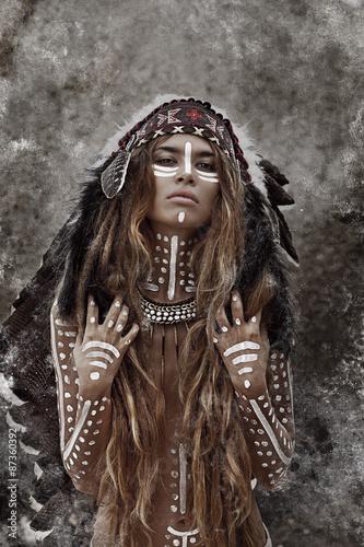 Obraz w ramie Indian woman hunter