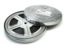 Film Reel And Box. Video, Movie, Cinema Vintage Concept.