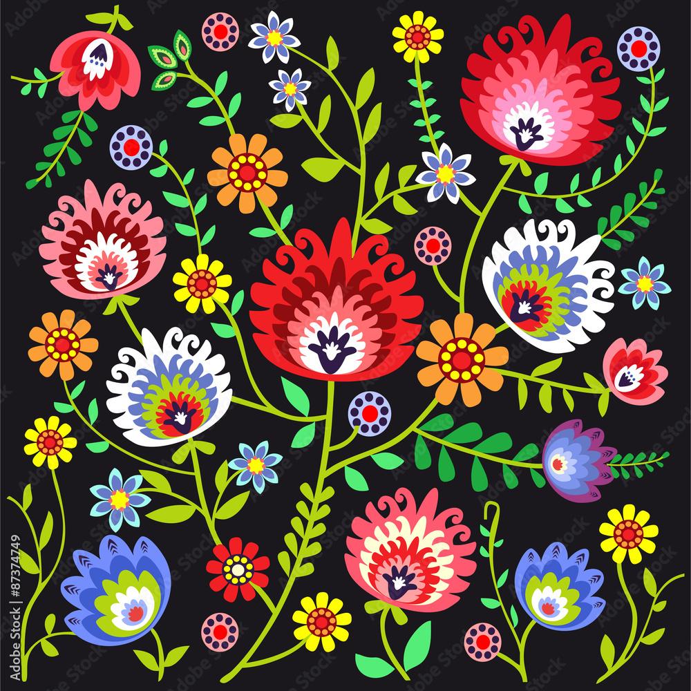 Fototapeta ludowy wzór kwiatowy