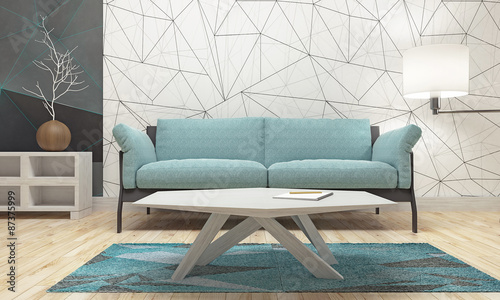 Photographie  Modern Design Of Living Room (3d Render)