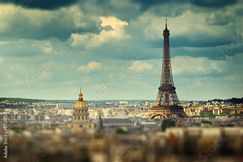 Staande foto Parijs Eiffel Tower (tilt shift effect), Paris, France