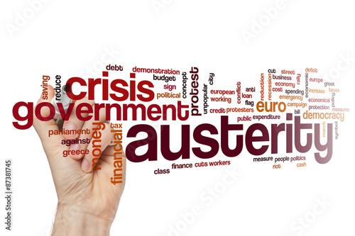 Austerity word cloud concept Canvas Print