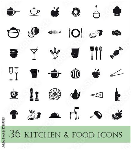 36 kitchen & food ikons Wall mural