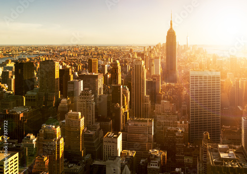 Photo  Manhattan Skyline bei Sonnenuntergang in New York