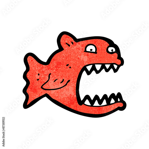 cartoon piranha Canvas-taulu