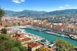 Leinwanddruck Bild - Vue du port de Nice et de l'arrière pays