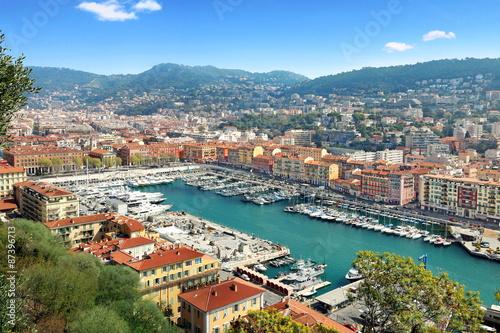 Foto op Canvas Nice Vue du port de Nice et de l'arrière pays