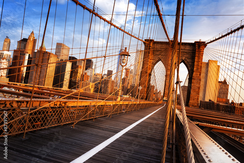 In de dag New York Brooklyn Bridge in New York City