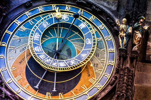Staande foto Praag Prague astronomical Clock on the Old Town Hall/The historic center of Prague, ancient architecture, and cultural heritage