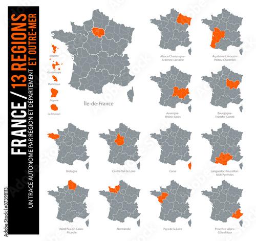 Fotografie, Obraz  Carte de France / 13 régions et outre-mer