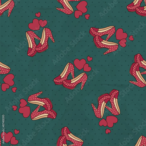 Stickers pour portes Hibou seamless background of red shoes with polka dots