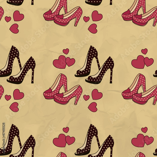 Papiers peints Hibou Seamless pattern with brown and red shoes with polka dots