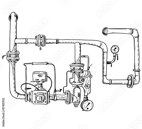 Boiler Room Pipes Vector Sketch