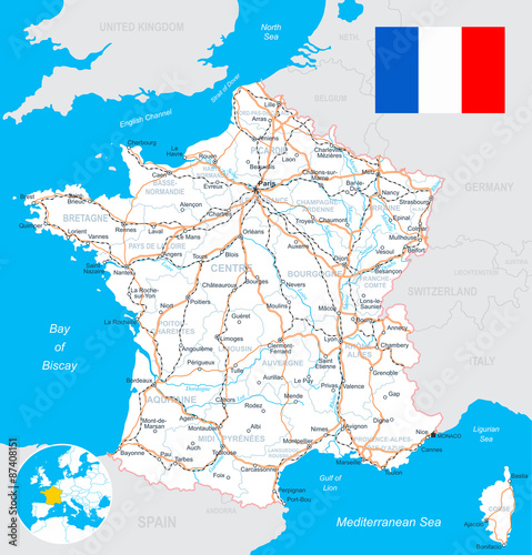 Map Of France With City Names.France Map Flag Roads Highly Detailed Vector Illustration