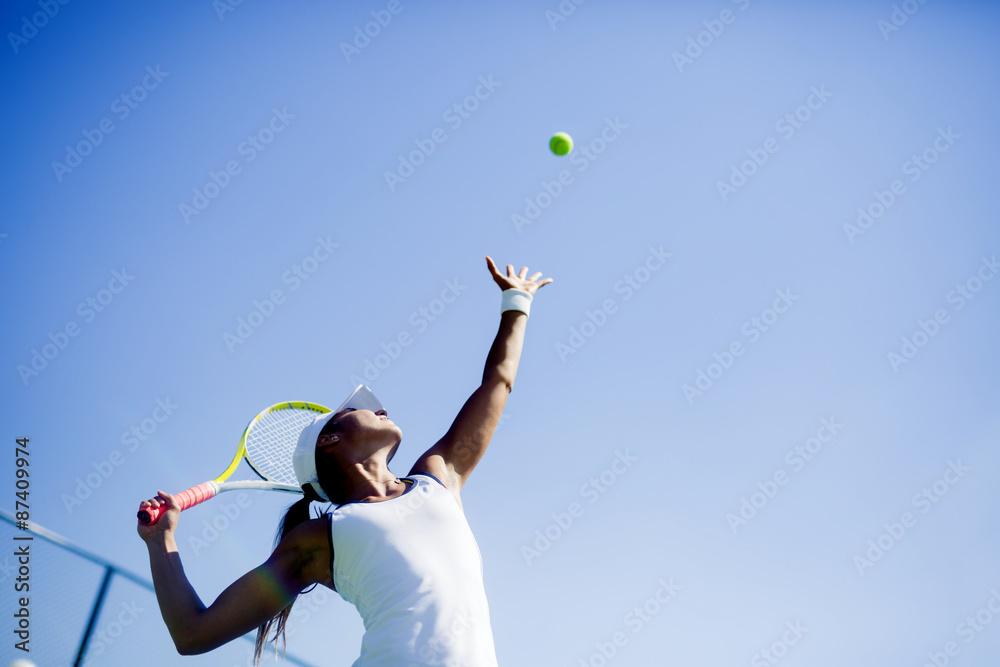 Belle joueuse de tennis portion Poster
