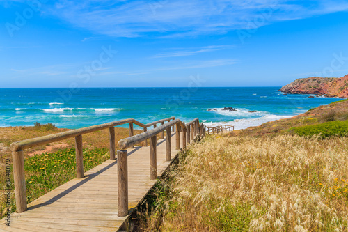 In de dag Australië Walkway to Praia do Amado beach, famous place for surfing, Algarve region, Portugal